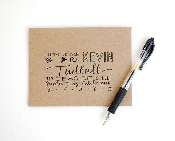 Make Your Snail Mail Beautiful: Decorative Hand Lettered Address on Envelope